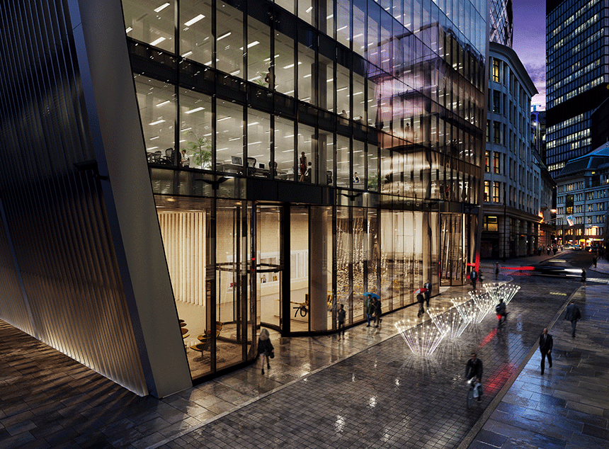 70 St Mary Axe exterior night CGI by River Film